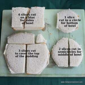how to cut bread slices to create a summer pudding