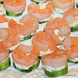 a platter full of Shrimp and Cucumber Bites