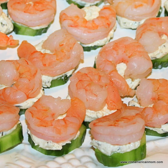 Party Starters with shrimp and cucumber