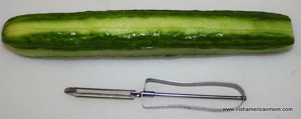 Peeling a cucumber in stripes