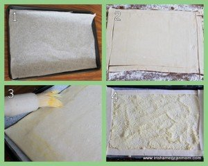 Four step process for using puff pastry to make a galette crust
