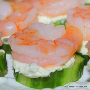 Shrimp and cucumber appetizer for St. Paddy's Day.