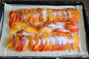 Nectarines sprinkled with sugar to make a galette
