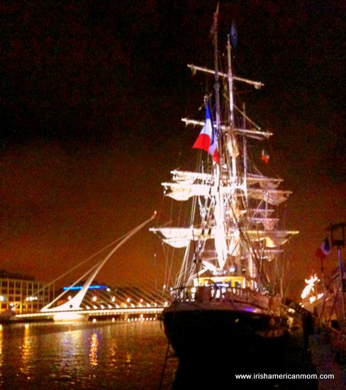 The Jeanie Johnston Famine Ship -  at night