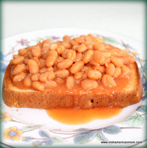 Beans in red sauce served on a slice of toast for lunch