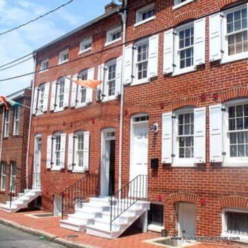 Front of the red brick row houses at the Baltimore Irish Railroad Workers Museum