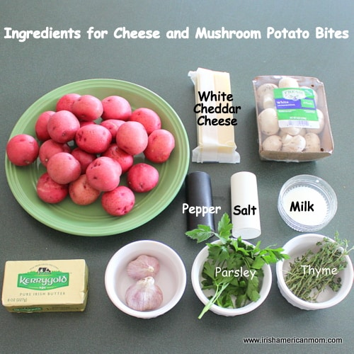 Ingredients for cheese and mushroom potato bite appetizers