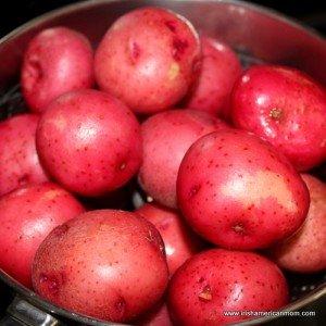 using small red potatoes to make Irish cheese and mushroom potato bites