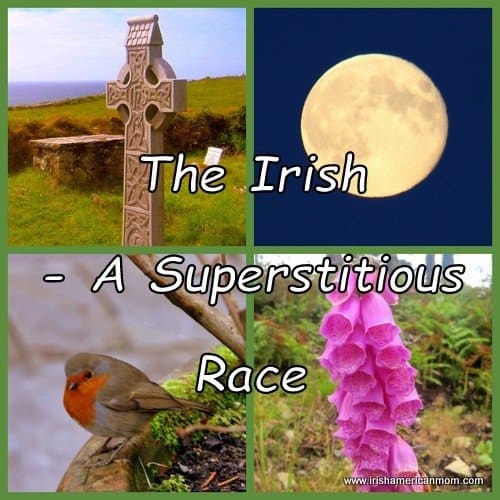 Photo collage of a Celtic Cross, full moon, robin and foxgloves to illustrate The Irish - A Superstitious Race
