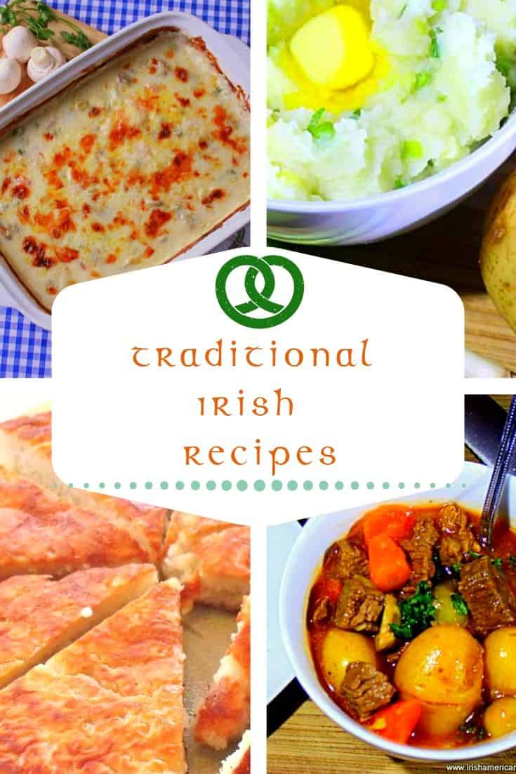A photo collage of Irish food featuring seafood casserole, champ, boxty and beef stew.