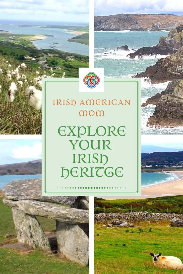 Photo collage of Irish bog cotton, cliffs at Mizen head, dolmen and beach