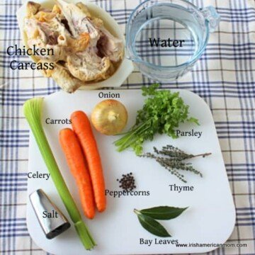 Chicken carcass, water, onion, celery, carrot and herbs for homemade chicken stock