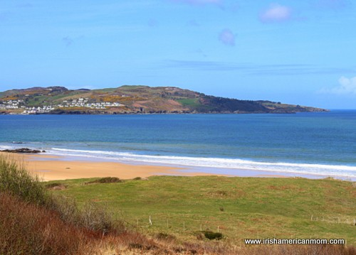A sandy beach, grass field and mountain by the sea