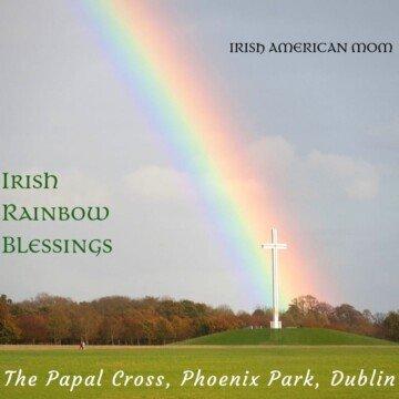 Rainbow's end falling on the Papal Cross in Phoenix Park Dublin