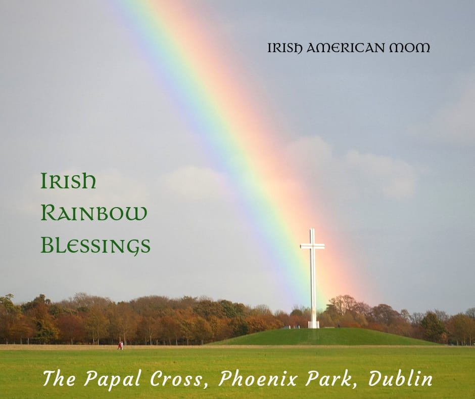 Rainbow's end falling on the Papal Cross in Phoenix Park Dublin