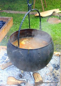 Iron Viking Soup pot over open flame