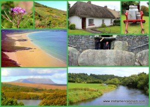 Irish cottages, ogham stone and scenery in a photo collage
