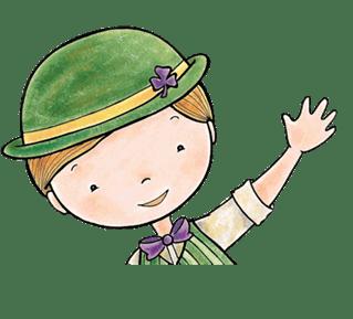 Waving Irish leprechaun wearing a green hat