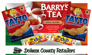 Tayto crisps, Barry's Tea and Club Milk Chocolate Biscuits in a gift box
