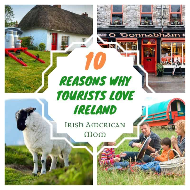 Four way collage showing an Irish thatched cottage, pub, a family playing music by a caravan and a sheep in a green field