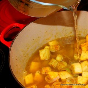 Broth being poured into a pot of parsnip and apple soup