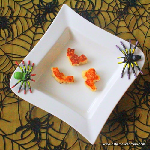 Bat and ghost shaped potato cakes
