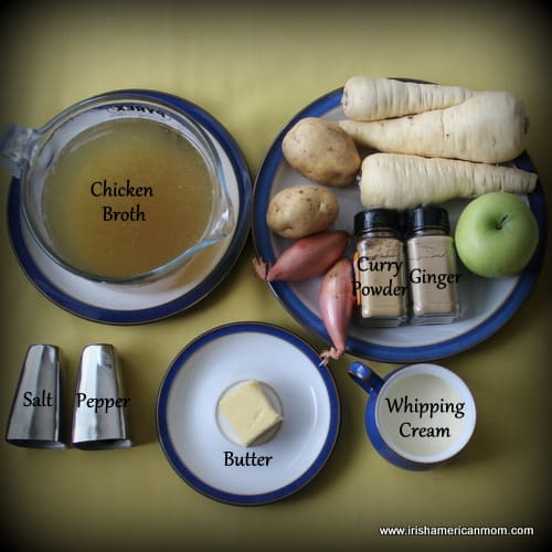 Ingredients for parsnip and apple soup
