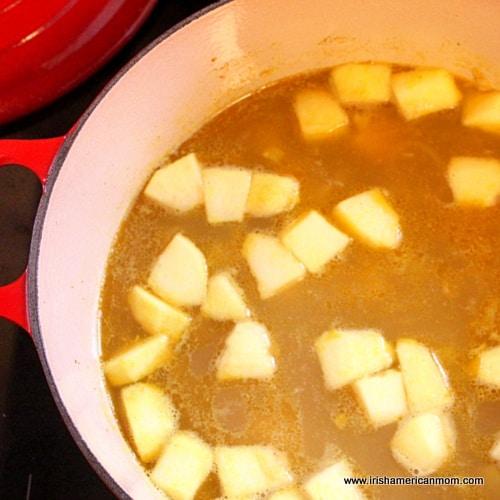 Parsnip soup prior to blending