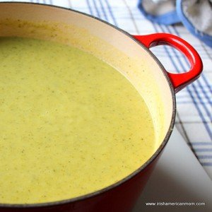 Pot of green soup made using zucchini and leeks or courgette and leeks