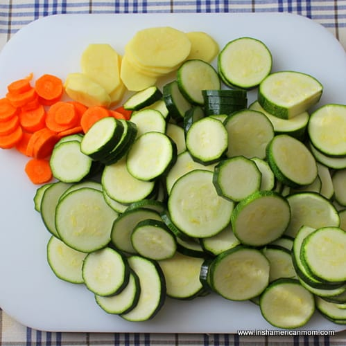Sliced courgettes or zucchini, potato and carrot for soup
