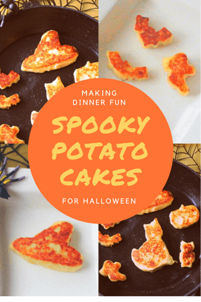 A four photo collage featuring potato cakes in Halloween shapes like witches hats, bats, pumpkins, ghosts and cats.