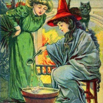 Two Victorian women dressed as witches stir a large pot in this vintage style image