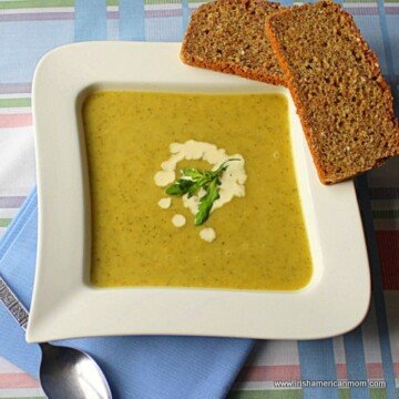 Zucchini and leek soup Irish style served with Irish brown bread.