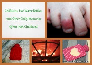 Photo collage of hot water bottles, a fire and a toe with a chilblain