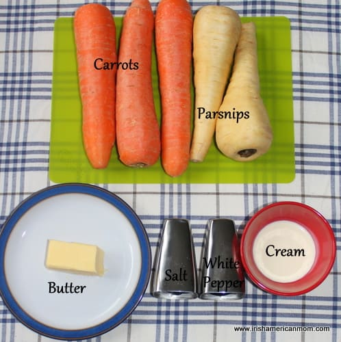 Ingredients for carrot and parsnip mash