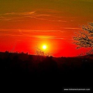 Deep orange glow of an Irish sunset