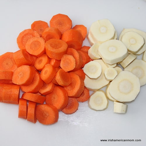 Sliced carrots and parsnips