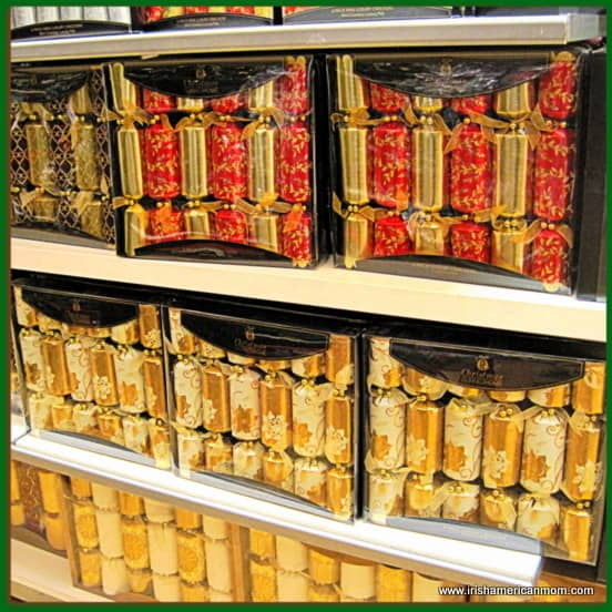 Boxes of Christmas Crackers on Shelves