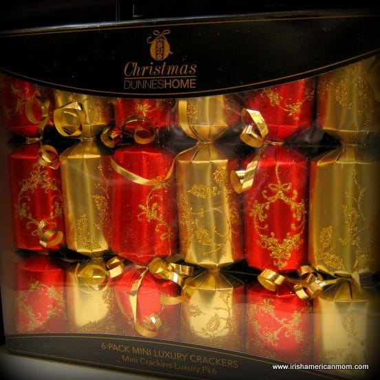 Red and gold Christmas Crackers in a box