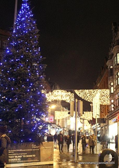 Dublin's Blue Christmas Tree beside Trinity College