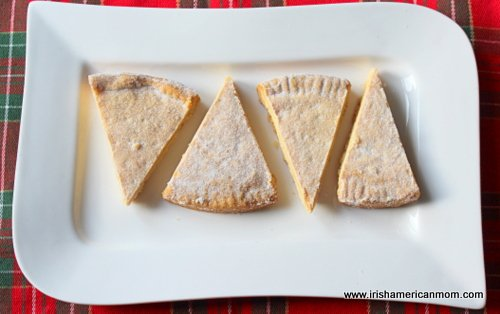 Four petticoat tails or shortbread on a plate
