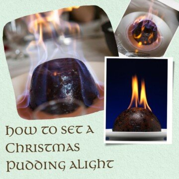 Christmas pudding photo collage with text overlay