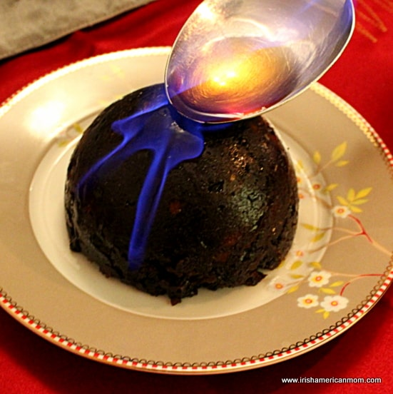 Lighting a Christmas pudding