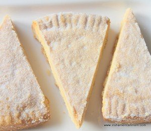 Three triangular slices of shortbread