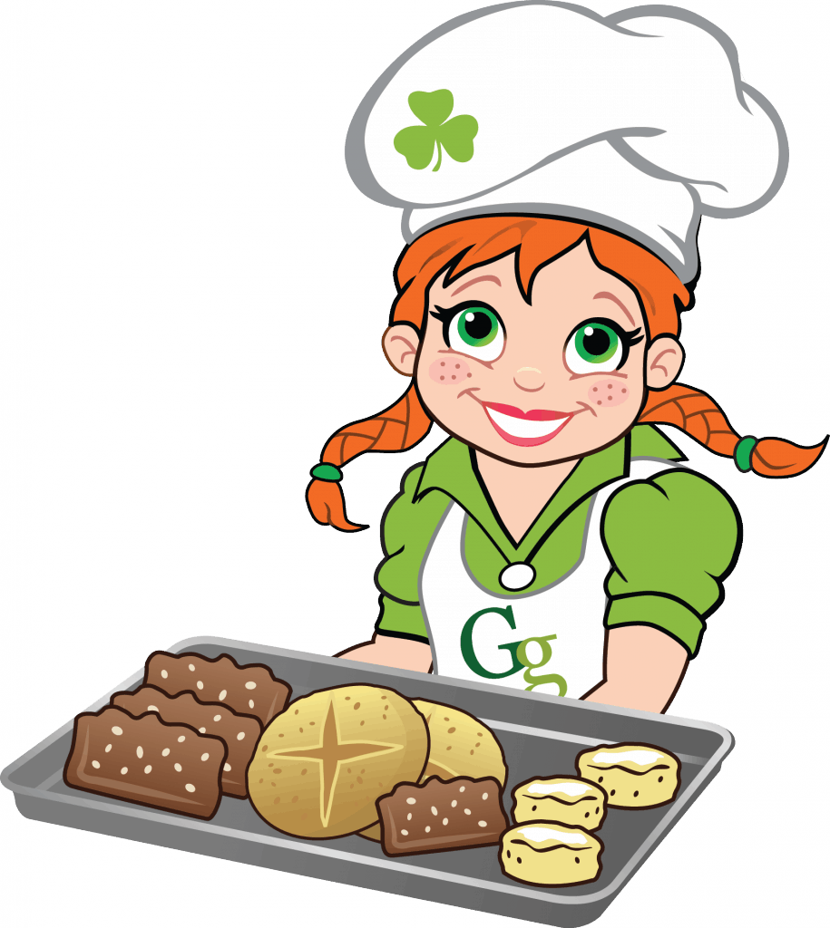 Gaelic girl baker with a tray of goodies