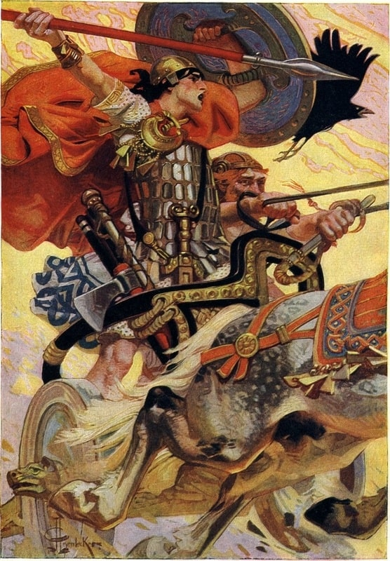 An illustration featuring the ancient Irish warrior Cu Chulainn holding a shield and spear while riding a chariot.