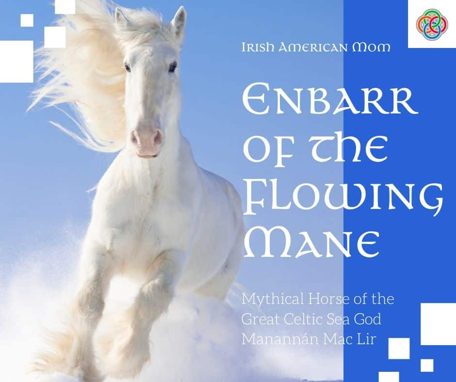 A blue graphic with a white horse in the snow featuring the ancient mythical horse Enbarr of the flowing mane.