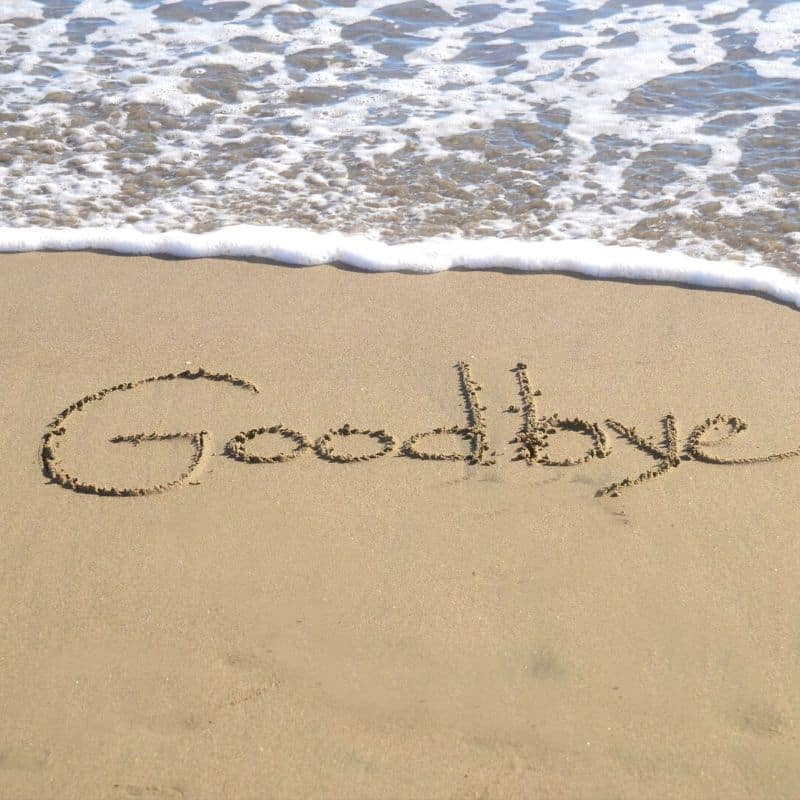 Goodbye etched in the sand by the sea shore