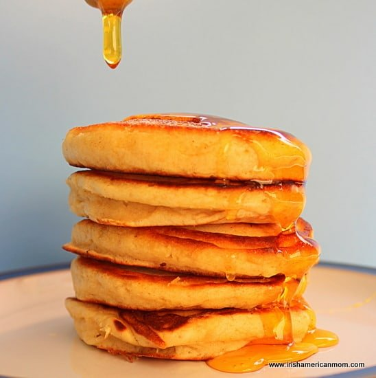 Honey on pancakes