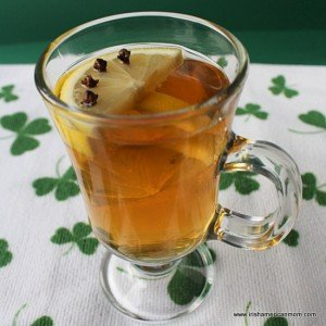 A glass with a handle for serving a hot toddy